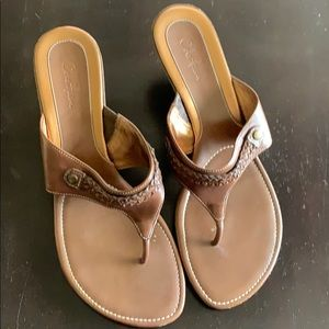 Coke Haan Cybil wedge thong. Brown. Size 9.5